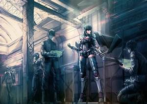 Anime, Girls, Anime, Long, Hair, Futuristic, Suits, Armor, Weapon, Short, Hair, Wallpapers, Hd
