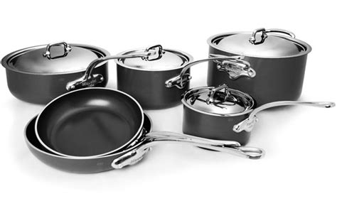 mauviel mstone nonstick cookware set  piece stainless steel lid cutlery