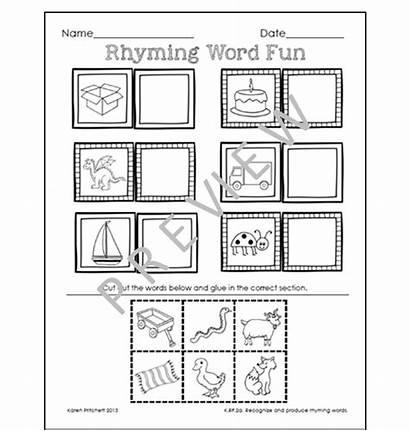 Rhyming Paste Cut Worksheets Kindergarten Activities Words