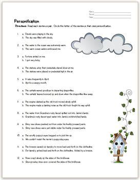 Personification Practice Page By Allstar Ela  Teachers Pay Teachers