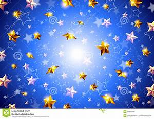Golden Stars On A Blue Background Stock Vector - Image ...