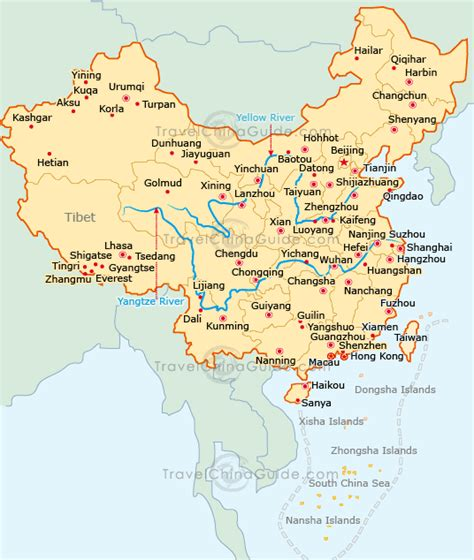 map  china city physical province regional
