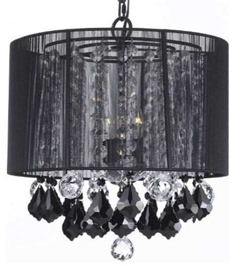 Black Chandelier Shade by Chandelier With Large Black Shade Jet Black