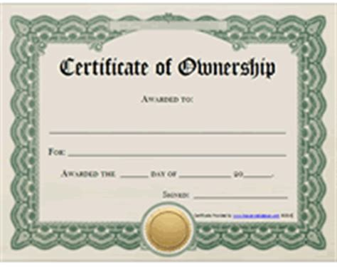 printable certificates  ownership form templates