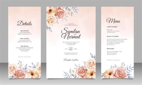 Beautiful floral wedding invitation card template with