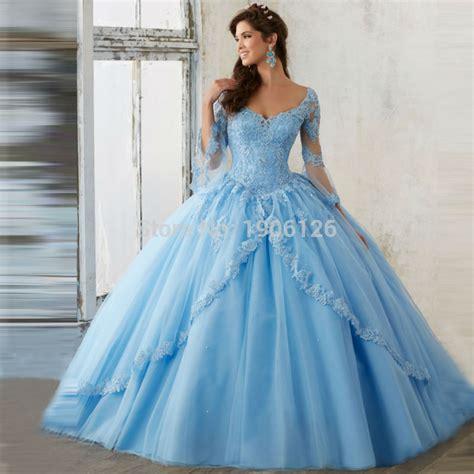 light blue 15 dresses aliexpress com buy light blue long sleeve quinceanera