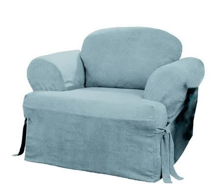 t cushion chair slipcover sure fit suede t cushion chair slipcover qvc com