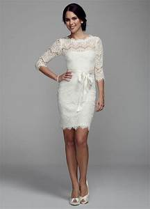 david39s bridal short lace wedding dress with 3 4 sleeves With 3 4 sleeve short wedding dress