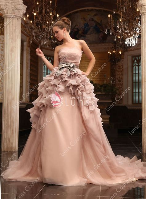 Luxury Ruffled Champagne Organza Strapless Ball Gown