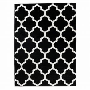 Tapis Scandinave Noir Et Blanc : tapis de salon chambre noir blanc motif oriental avec ~ Melissatoandfro.com Idées de Décoration