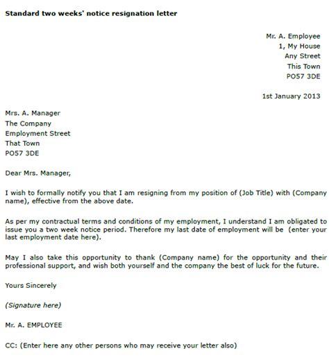 resignation letter 2 week notice two weeks notice resignation letter toresign