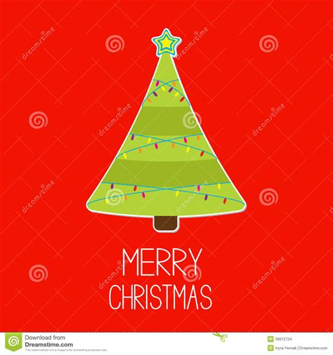 triangle christmas tree with lights merry christm stock