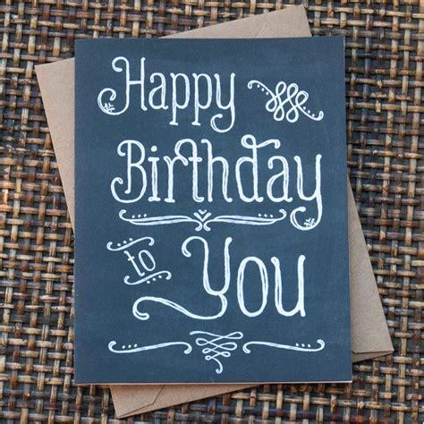 chalkboard happy birthday card hand lettered
