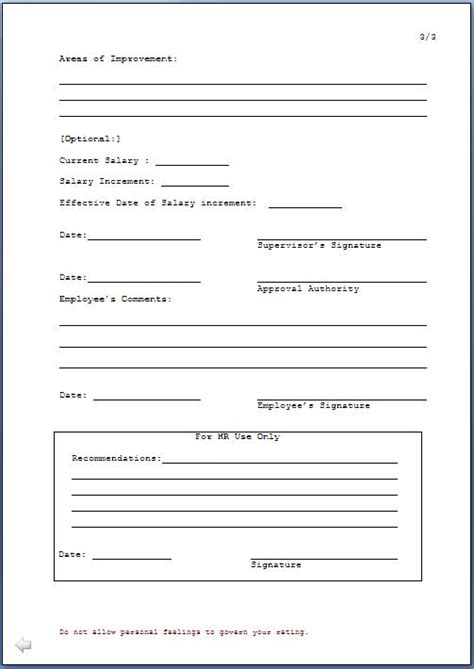 Employee Confirmation Evaluation Form by Employee Confirmation Form Template