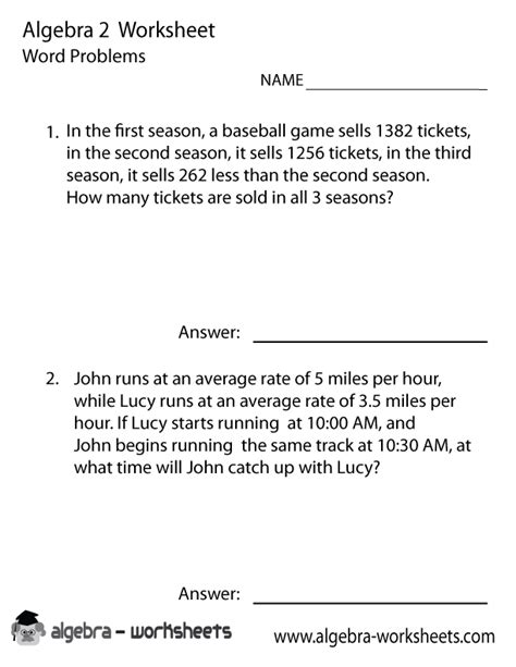 algebra word problems worksheet and answers algebra 2 word problems worksheet printable