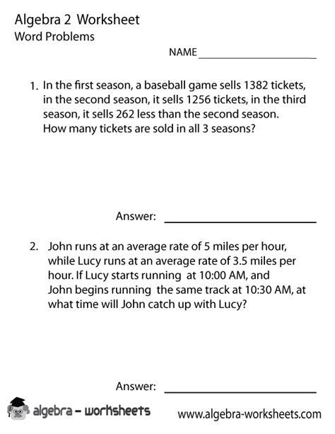 Algebra 2 Word Problems Worksheet Printable