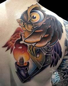 Full color owl and lantern tattoo by Jay Blackburn : Tattoos