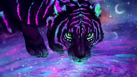 fondos de pantalla tigre agua ojos verdes neon