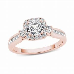 78 CT TW Diamond Cushion Frame Engagement Ring In 14K