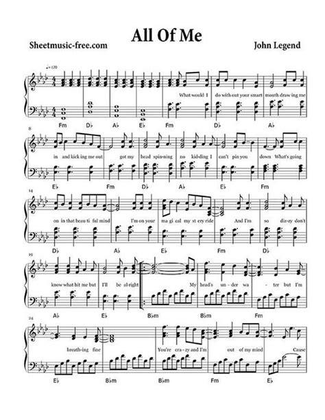 sheet  john legend klaviernoten noten