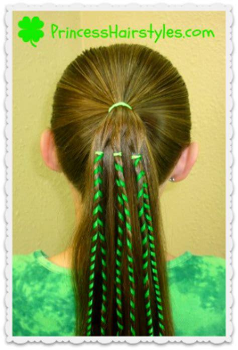 st patricks day hairstyles shamrock  ribbon