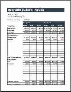 Quarterly Budget Analysis Sheet Template For Excel