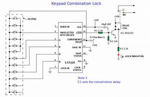 Keypad Combination Lock - Control Circuit - Circuit Diagram