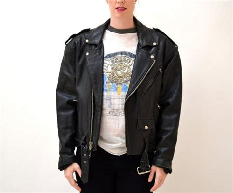 Vintage Black Leather Motorcycle Jacket Size Mens Small