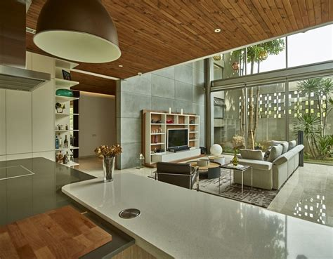 image of glass stair tropical open house in jakarta indonesia architecture