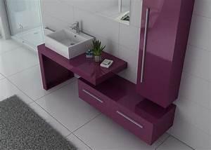 Meuble Simple Vasque : meuble de salle de bain 1 vasque 90 cm aubergine meuble vasque simple dis9250 distribain ~ Teatrodelosmanantiales.com Idées de Décoration