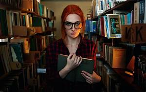 Red hair girl, freckles, glasses, library, reading book ...