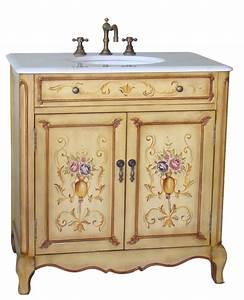 33inch camay vanity hand painted vanity imperial white for Painted vanities bathrooms