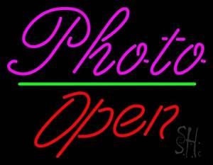 Pink Cursive With Open 2 Neon Sign