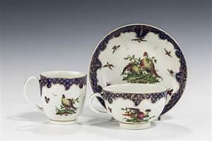 Antique worcester trio fabulous birds pattern richard