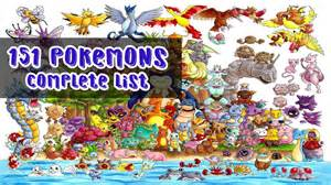 Complete List Of All (151) Pokemons