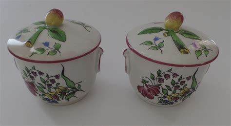2 x vintage pot de creme faience pots with lids fruit from blacktulip on ruby