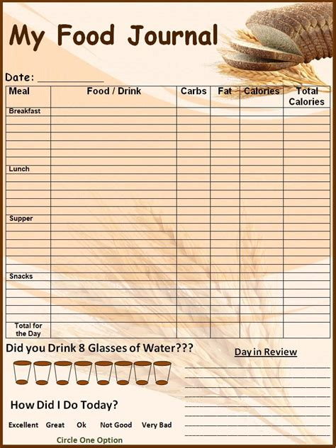 free food journal template 6 food journal templates excel pdf formats