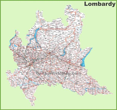 large detailed map  lombardy  cities  towns