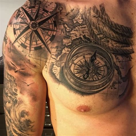 Nautical compass tattoos for men. Compass Map Tattoo by Fabrizio Converso | some of my work | Pinterest