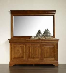 Buffet Avec Miroir : miroir pour buffet 3 portes en merisier massif de style louis philippe meuble en merisier massif ~ Teatrodelosmanantiales.com Idées de Décoration