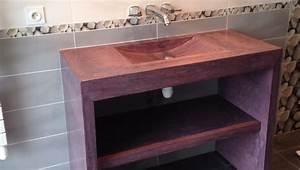 mobilier sur mesure design en beton cire decoratif With meuble salle de bain beton cire