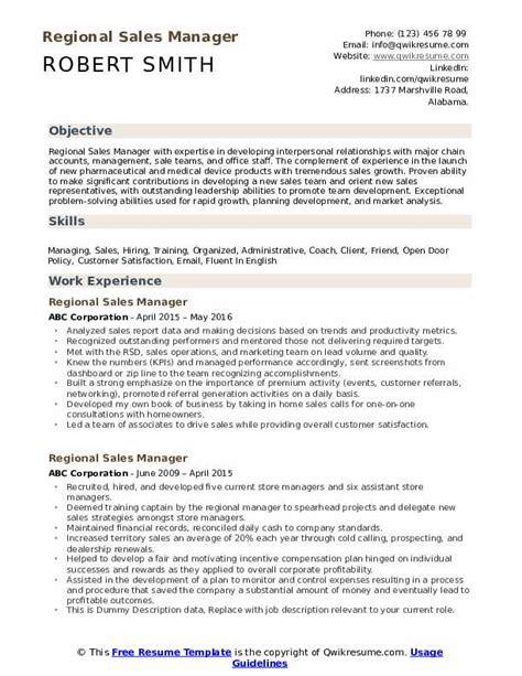 regional sales manager resume samples qwikresume