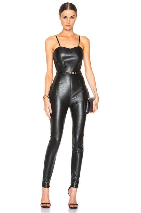 leather jumpsuits lyst laurent leather jumpsuit in black