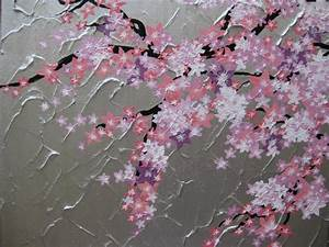 pink cherry blossom tree trees with bird large painting ...