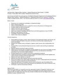 front desk receptionist job description for resume 12 medical receptionist jobs resume fresh format