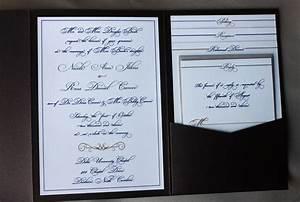 Multicolor formal script scroll pocketfold wedding for Most formal wedding invitations