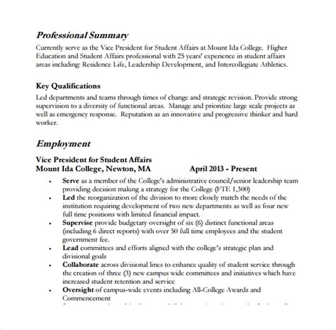 Exles Of A Professional Summary by Sle Professional Summary Template 8 Free Documents
