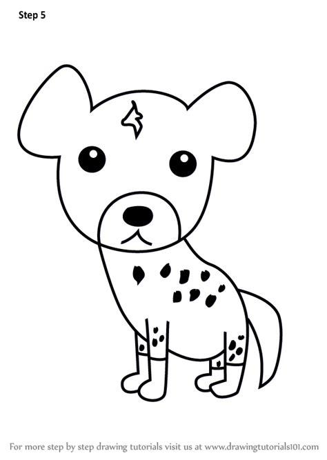 learn   draw  hyena  kids animals  kids step