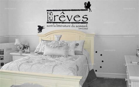 stickers phrase chambre adulte stickers citation les rêves sont la littérature du sommeil