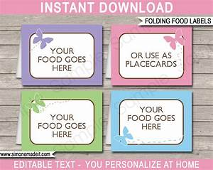 butterfly party food labels place cards printable With food labels for party template